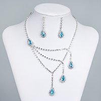 Wholesale Light Blue Crystal Wedding Jewelry - Blue Rhinestone Bridal Jewelry Sets Earrings Necklace Crystal Bridal Prom Party Pageant Girls Wedding Accessories Free Shipping 15015A