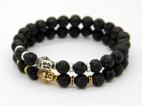 schwarze perlen zum verkauf großhandel-2015 heißer verkauf schmuck schwarz lava energie stein perlen gold und silber buddha armbänder großhandel neue produkte für männer und frauen geschenk