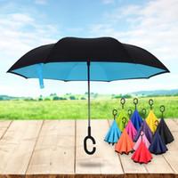 Wholesale Men Umbrella Folding - Outdoor Double Deck Umbrellas Fashion For Women And Men Folding Inverted Umbrellas Windproof Sunscreen Portable 2 6 sx C R