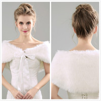 2017 New Style Faux Fur Jacket Wrap Shrug Bolero Coat Wrap Bow Shawl Cabo Bridal Wedding Shawl Bridesmaid Wrap Acessórios de casamento