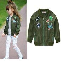 ingrosso giacca verde delle ragazze dell'esercito-New Spring Autunno Neonate Jacket Bambini Cartoon Outwear Cappotto Cappotti Per bambini Army Green 13578