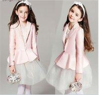 Wholesale Coat Tutu Dress Outfits - 2016 New Fashion Girls Clothing Sets Children Pink Suit Coat+White Lace Gauze Vest Dress 2pcs Set Cute Girl Outfits Kids Princess Suit