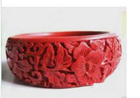 Wholesale Cheap Lacquer - Wholesale cheap China Classical Traditional Folk Carved Flower Cinnabar Lacquer bracelet
