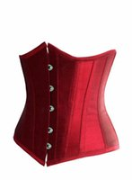 Wholesale Mixed G String Free Shipping - Free Shipping Girl's Women's Underbust Corset tops with free Tong G-string silky Satin Plus Size Lacing Up Black white red colors Mix sell