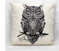 Wholesale Owl Handmade Pillow - 2016 New Arrive Simple Cotton Linen Cushion Pillow Home Decor 45cm*45cm Branch Owl Pattern