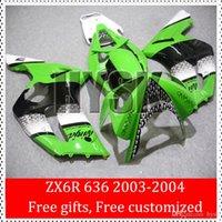 Wholesale Kawasaki Ninjas For Cheap - Cheap Motorcycle Fairing Kits For Kawasaki Ninja ZX6R 2003 2004 ZX 6R 03 04 ZX-6R 636 2003-2004 Green With Black Stripe Injection ABS Bodywo
