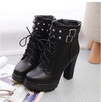 Wholesale Leather Shoes Women England - Autumn winter new England patent leather boots female high heel thick with lace motorcycle boots rivets wild single shoes PU Martin boots