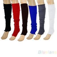 Wholesale Neon Formal - Wholesale-Winter Warm Women Plain Knitted Leg Warmers Stocking Finger less Long Gloves Neon Solid Pure Color 8I4X