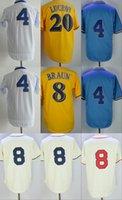 Wholesale 1913 Baseball - Mens 8 Ryan Braun 4 Paul Molitor 16 Domingo Santana White Yellow 1913 1948 Cream Throwback