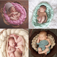 Wholesale Crochet Baby Basket - DHL Fedex Free Newborn Baby Photography Props Baby handmade crochet Photo Blanket 12 Colors 4M Long Basket Acrylic Filler Braid Basket L198