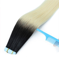 Wholesale Hair Extension Tape 613 - 14''-26'' 2.5g piece 40 pcs ombre color 1B 613 Straight European Hair Remy Tape Hair Extension
