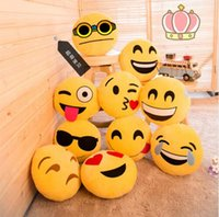 Wholesale Hot sale Styles Soft Emoji Smiley Emoticon Round Cushion Pillow Sofa Stuffed Plush Toy Doll Christmas whatsapp emoji Cushion