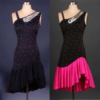 Wholesale Black Belly Dance Dress - Wholesale-New Women Elegant Latin Dance Dress Feminina Black Ballroom Cha Cha Rumba Samba Latina Dresses For Dancing
