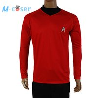 Wholesale Star Trek Uniforms - Wholesale-Clearance Star Trek Into Darkness Scotty Shirt Uniform Cosplay Costume Red Version For Adult Men