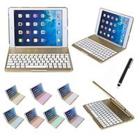Wholesale Covers Para Ipad - bluetooth keyboard Colorful Backlighting For ipad air case Aluminium alloy teclado para Smart Cover for ipad air with Stand Gold New 010242