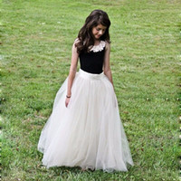 Wholesale Elegant Dress Skirt Children - 2016 Popular Cheap But Elegant Flower Girl Dresses Children Long Tulle Tutu Skirt Crew Sleeveless Floor Length Flower Girl Dress