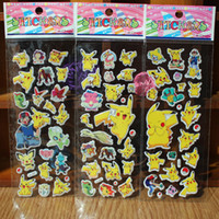 Wholesale Self Adhesive Wallpapers - Fashion Children Cartoon Poke Pikachu 3D Stickers UV Wallpaper Nursery Children Kids Room Bedroom Wall 6.75*16.9cmZJ-S12
