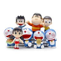 Wholesale Cute Mini Anime Figures Set - 8pcs lot Cute Doraemon Mini Figure Toys full set different style Mini Doraemon model Anime Cartoon Action Figure free shipping