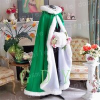 Wholesale Winter Capes For Wedding Dresses - 2017 Winter Bridal Cape Faux Fur Christmas Hooded For Winter Wedding Bridal Wraps For Wedding Dresses Sweep Train
