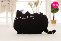 Wholesale Black Mouse Tail - 2016 new stuffed plush toy pusheen cat girl kids Birthday gift Cute cat Pillow animal doll 40x30cm Big tail cat toy black 5 colours
