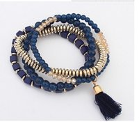 Wholesale Stretch Bracelets Personalized - New Fashion Personalized Gift Bohemian Ethnic Style Multilayer stretch Bead bracelet Elastic Tassel Bracelets cuir Jewelry for Women