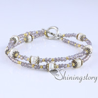 Wholesale Cheap Wedding Gifts Online - freshwater pearl bracelet pearl stretch toggle bracelets with crystal and seed beads online pearls jewellery cheap wedding jewelry