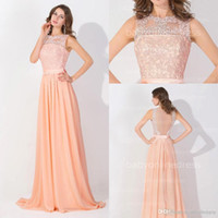 Peach Pink Long Chiffon Cheap Prom Dresses 2016 Lace Real Image Backless Sheer Long Evening Gowns In Stock Bridesmaid Dress
