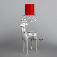 Wholesale Metal Deer Decoration - New arrival silver finish deer shape metal candle holder, zinc alloy candelabra, fashion wedding candle stand