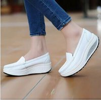 Wholesale Genuine Leather Nurse - Women's Platform Shoes For Women Genuine Leather Footwear Woman White Black Pink Comfort Nurse Wedges Breathable Swing Pumps