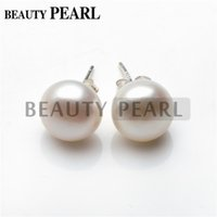 Wholesale Silver 925 Buttons - Big Size Pearl 12-13mm Button Freshwater White Pearl 925 Sterling Silver Simple Studs Earrings Women Beauty Pearl Jewelry