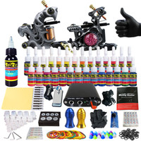Wholesale 29 Tattoo - Solong Tattoo Beginner Tattoo Machine Gun Kit 2 Pro Machine Guns 28 Inks Power Supply Needle Grips Tips TK204-29