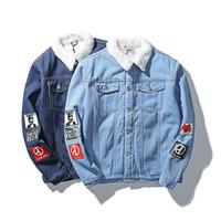 Wholesale Men S Large Jackets - Wholesale- Men 's Cotton Wool Liner Velvet Warm Denim jackets 2016 New Male Fashion Outerwear Coats Large size Denim jackets