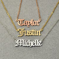 Wholesale Personalized Nameplate Necklace - Personalized Nameplate Jewelry Christmas Gift Old English style Name Necklace