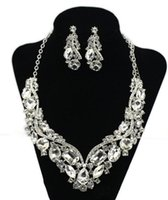 Wholesale Tear Crystal Water Drop Necklace - Crystal Rhinestone Wedding Bridal Party Tear Drop Earring Necklace Jewelry shiny rhinestone Set hot sell HT109