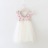 Wholesale Girls Lace Mesh Dress - 2016 Baby Girls Lace Floral Dresses Kids Girl Mesh Dots Party Dress Babies Princess tutu Dress Children's Summer Wholesale Clothing