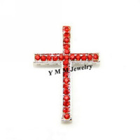 Wholesale Sideways Curve Cross Connector - Wholesale 20pcs lot Silver Plated Curved Sideways Cross Red Crystal Bracelet Connector Fit Bracelets Free Shipping