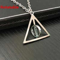 Hot Sale Movie Harry Deathly Hallows Necklace Moda Rotated Triangle Pendant Chain Necklace Para Mulheres Homens 24pcs / Lot