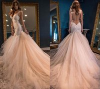 2017 Vintage Boho Sommer Blush Mermaid Brautkleider Luxus Prinzessin Backless Spitze Tüll Rock Open Back Trompete Rosa Brautkleider