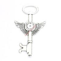 kolye saati takılar toptan satış-4 adet Antik Gümüş Kaplama Saat Wings Anahtar Charms Kolye Bilezik Takı Yapımı için DIY Kolye Craft 75x45mm