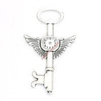 Wholesale Antique Gold Clock - 4pcs Antique Silver Plated Clock Wings Key Charms Pendants for Bracelet Jewelry Making DIY Necklace Craft 75x45mm