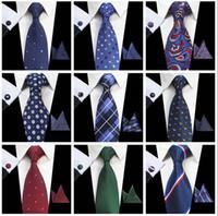 boutons de manchette formels achat en gros de-Cravates classiques pour hommes ensembles 51 Design 100% soie Cravates bouton de manchette mouchoir 8cm cravate à carreaux Cravates pour hommes Formal Business Wedding Party Gravatas