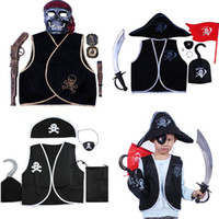 Wholesale Halloween Pirate Masks - Children Pirate Mask Vest Knife Compass Flag Cosplay Costume Set Performance Props Halloween Masquerade Party Supplies