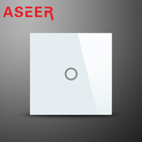 ASEER, EU Standard Luxry White Crystal Waterproof Glass Cover 1 Gang 1 Way Touch Screen Smart Wall Switch 1000W 110v-240v