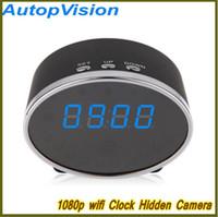 Wholesale Digital Clock Spy Cam - NEW Wifi 1080P Panda Digital Alarm Clock Hidden Spy Camera Motion Detection Clock Spy DVR 5.0M Pixels Mini Clock Hidden Cam