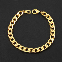Wholesale bracelets for america - Europe and America Hotsale 7mm 18cm 20cm 22cm 18K Yellow Gold Plated Cuban Bracelet Link Chain for Men for Wedding Party