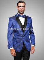 Wholesale Royal Blue Vest L - Wholesale- (Jacket+Pants+Vest+Tie) 2017 Royal Blue Men Suit Fashion Slim Fit Party Wedding Suit Men Custom Made Wedding Terno Tuxedos Groom