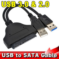 "Wholesale Sata Power Data Adapter Cable - 5Gbps USB 3.0 + 2.0 to 22Pin SATA 2.5"" HDD Adapter Data Power Cable High Speed USB3.0 to 22 Pin SATA Hard Disk Drive"