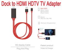 Wholesale Ipad Docking Hdmi - Dock to HDMI HDTV AV TV Cable USB Cable 1080P Adapter for iPhone5 5s 6 6s 6plus 6splus7.7plus ipad air air 2
