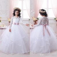 Wholesale wedding dress applique flowers pink for sale - 2016 White Flower Girl Dresses for Weddings Long Lace Sleeve Girls Pageant Dresses First Communion Dress Little Girls Ball Gowns Hot Sale