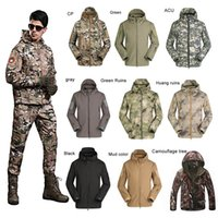 Wholesale Camouflage Winter Waterproof Clothing - Men's Lurker Shark Skin Outdoor Military Tactical Riding Hiking Jacket Waterproof Windproof Sports Camouflage Clothes 2511002